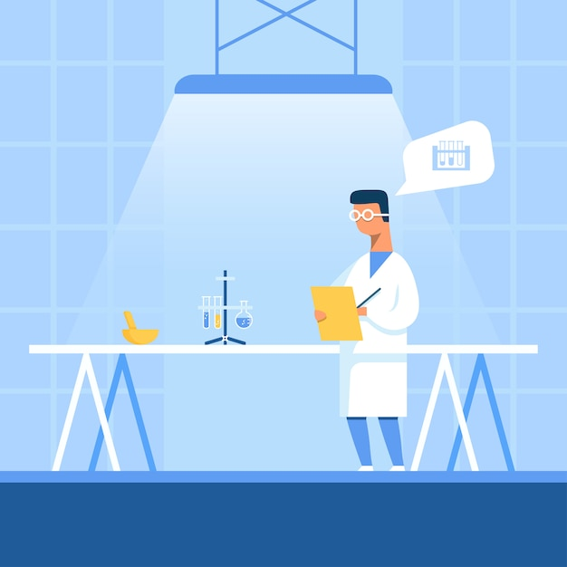 Cientista notando resultado experimental recebido Vetor Premium