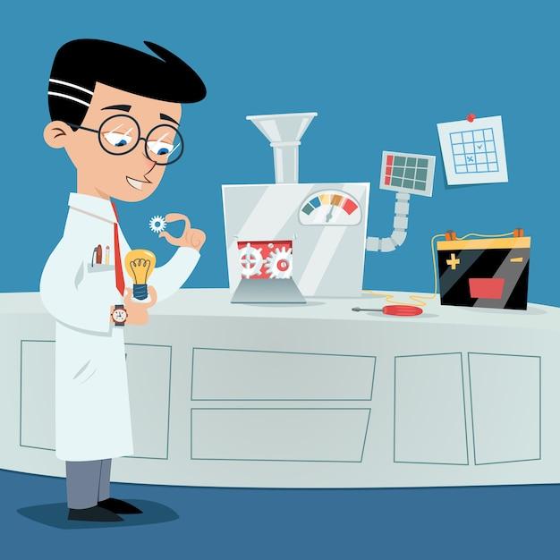 Cientista perto da máquina de ideias. conceito de brainstorming de vetor Vetor grátis