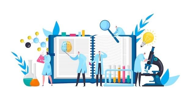 Cientistas em laboratório de descobertas com livro, microscópio e ciência experimental plana Vetor Premium