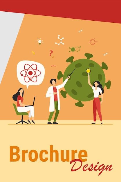 Cientistas estudando coronavírus. equipe de especialistas em ilustração vetorial plana de pesquisa médica. vírus, pandemia, conceito de ciência Vetor grátis