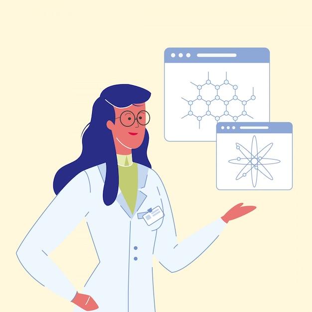 Cientistas femininos cartoon ilustração em vetor Vetor Premium