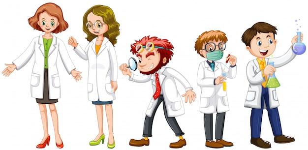 Cientistas masculinos e femininos em vestido branco Vetor Premium