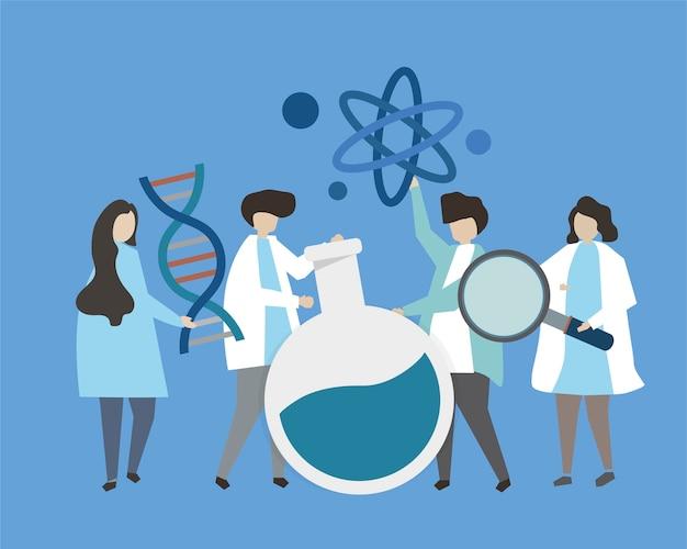Cientistas segurando a ilustração de ícones de engenharia genética Vetor grátis