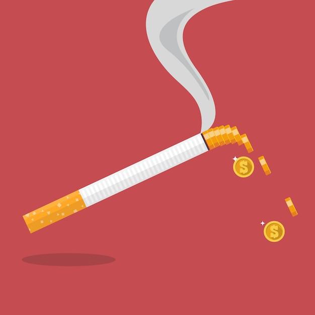 Cigarro com uma moeda formada de fumaça Vetor Premium