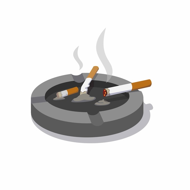 Cigarro no cinzeiro com fumaça e sombra Vetor Premium