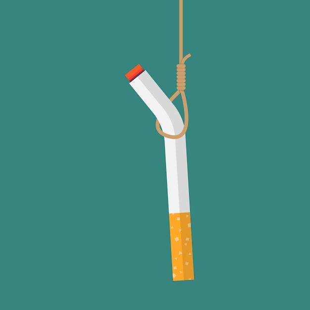 Cigarro pendurado com o conceito de corda Vetor Premium
