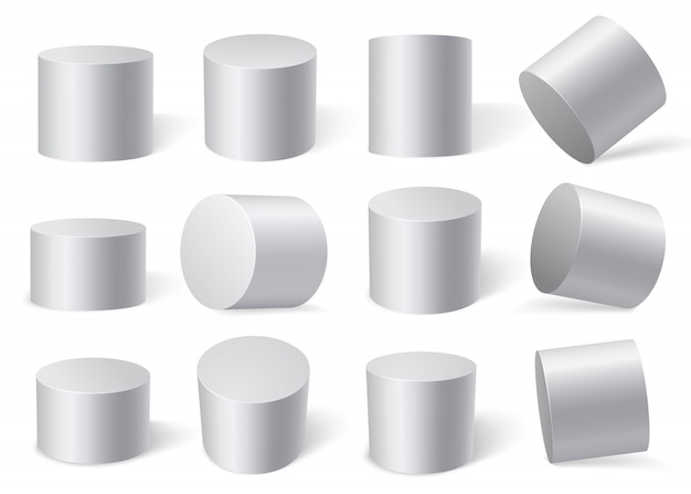 Cilindros brancos em diferentes ângulos. isolado no fundo branco. Vetor Premium