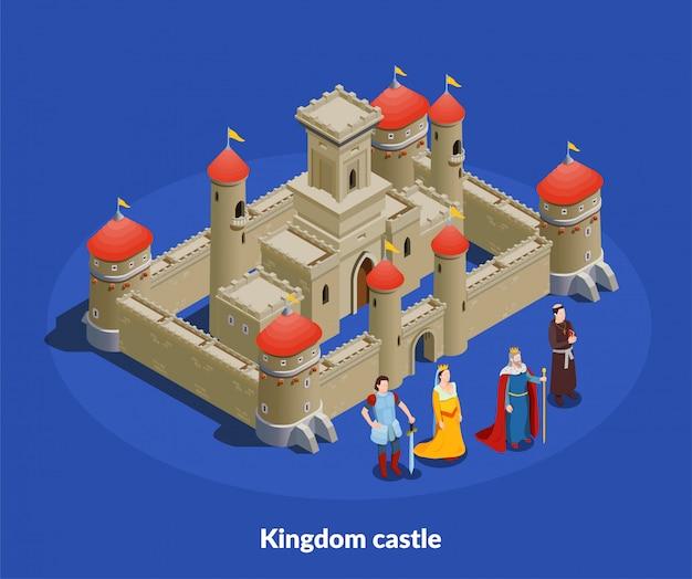 Cimposição isométrica do castelo medieval Vetor grátis