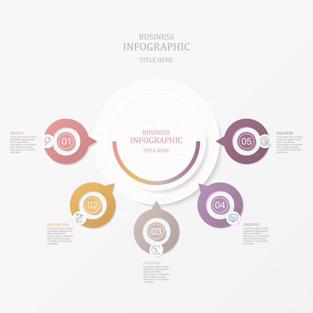 Cinco círculos e ícones do elemento de infographics para o conceito atual do negócio. Vetor Premium