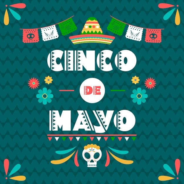 Cinco de maio com bandeira mexicana e caveira Vetor grátis