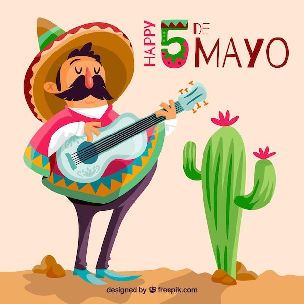 Cinco de mayo fundo com músico mexicano Vetor grátis