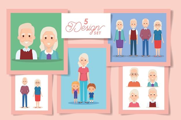 Cinco desenhos de avós e netos Vetor Premium