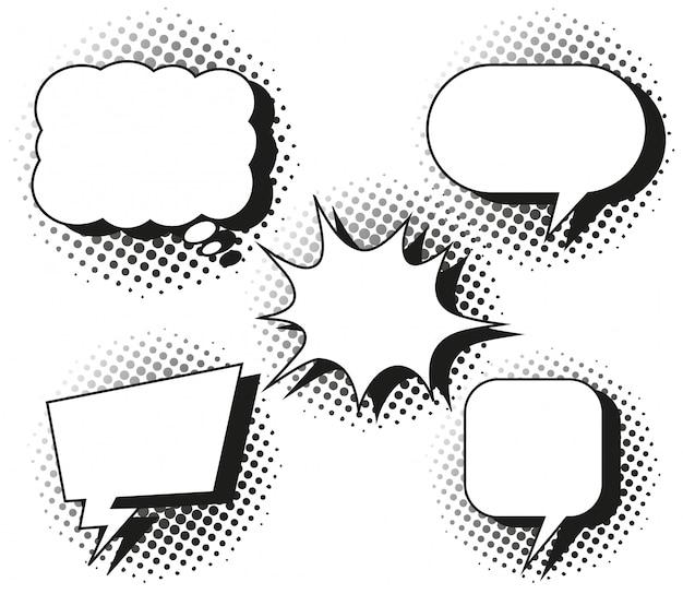 Cinco desenhos de balões de fala Vetor grátis