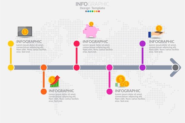 Cinco etapas cronograma infográfico modelo projeto vector Vetor Premium