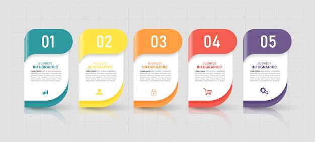 Cinco etapas timeline infographics design template. Vetor Premium