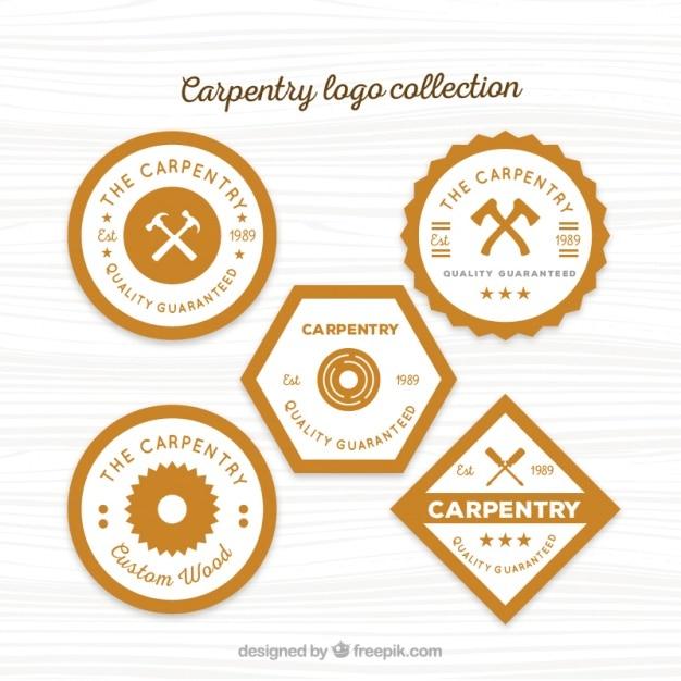 Cinco logotipos para carpintaria Vetor grátis