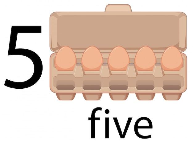 Cinco ovos na caixa Vetor Premium