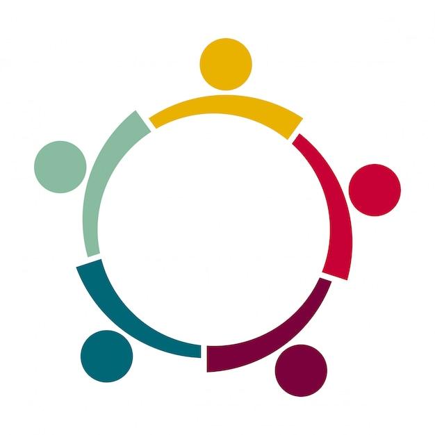 Cinco pessoas em um círculo de mãos dadas. os trabalhadores da cúpula estão reunidos na mesma sala de poder. Vetor Premium