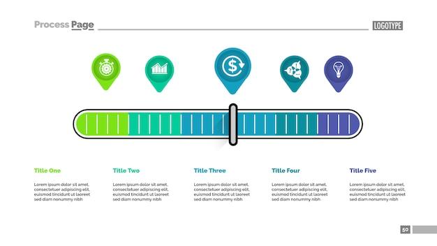 Cinco ponteiros escala modelo de gráfico de processo de metáfora para apresentação. Vetor grátis