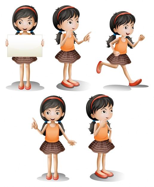 Cinco posições diferentes de uma menina Vetor grátis