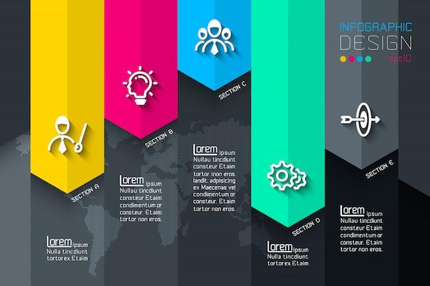 Cinco rótulos com infográficos de ícone de negócios. Vetor Premium