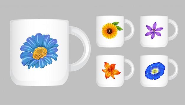 Cinco xícaras de café com gráfico de flores Vetor grátis