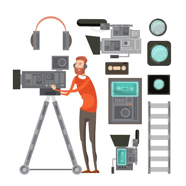 Cinegrafista de filme com equipamento de vídeo, incluindo filtros de fones de ouvido de fita para lente objetiva vhs player isolado ilustração vetorial Vetor grátis