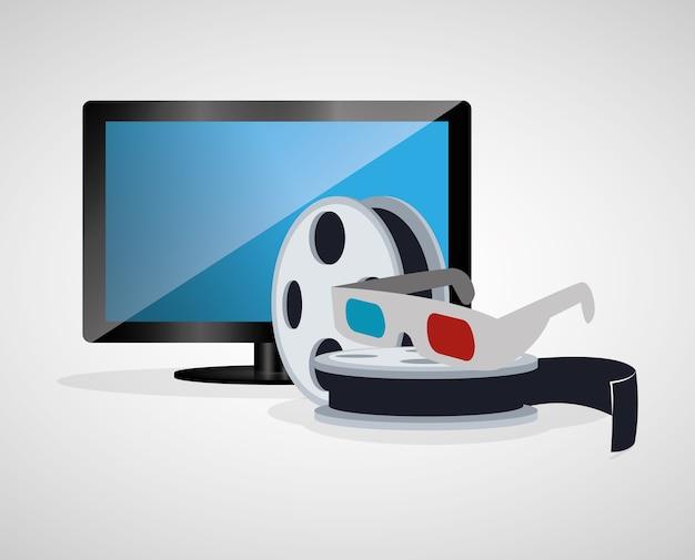 Cinema 3d óculos carretel filme tv plasma Vetor Premium