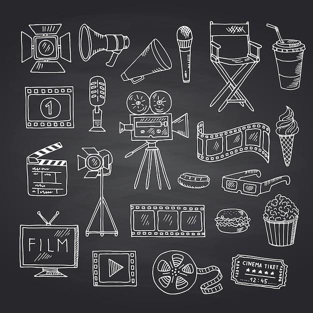 Cinema de vetor doodle elementos na ilustração de lousa preta Vetor Premium