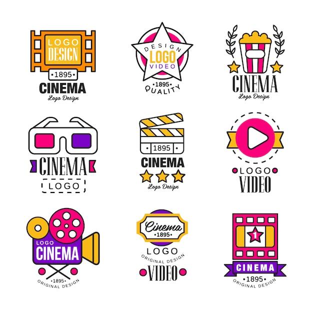 Cinema desde conjunto de logotipo, símbolos de vídeo em estilo retro retro ilustrações em um fundo branco Vetor Premium