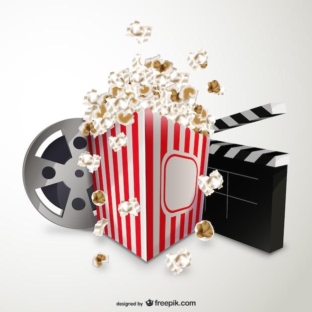 Cinema e pipoca Vetor grátis