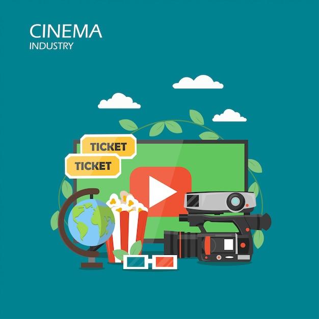 Cinema indústria estilo simples design ilustração Vetor Premium
