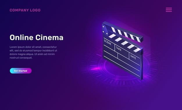 Cinema ou filme on-line, conceito isométrico Vetor grátis