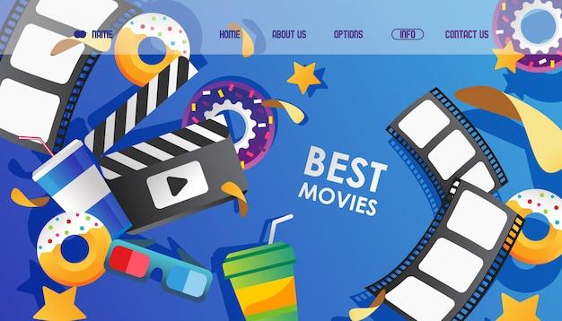 Cinema, site de filmes de animais definir ilustração. página inicial da faixa de filme, óculos para assistir e badalo de filme. Vetor Premium