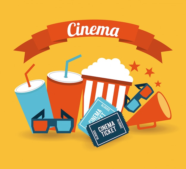 Cinema sobre fundo laranja Vetor grátis
