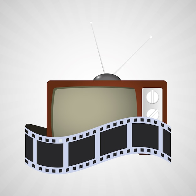 Cinema tv filme de tira do vintage Vetor Premium