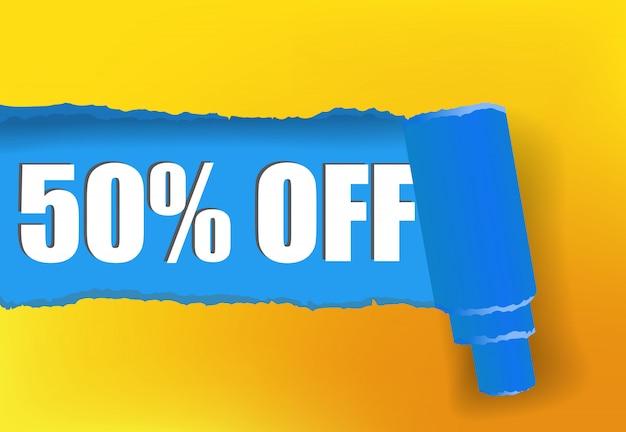 Cinquenta por cento fora da bandeira da promoção em cores amarelas e azuis Vetor grátis