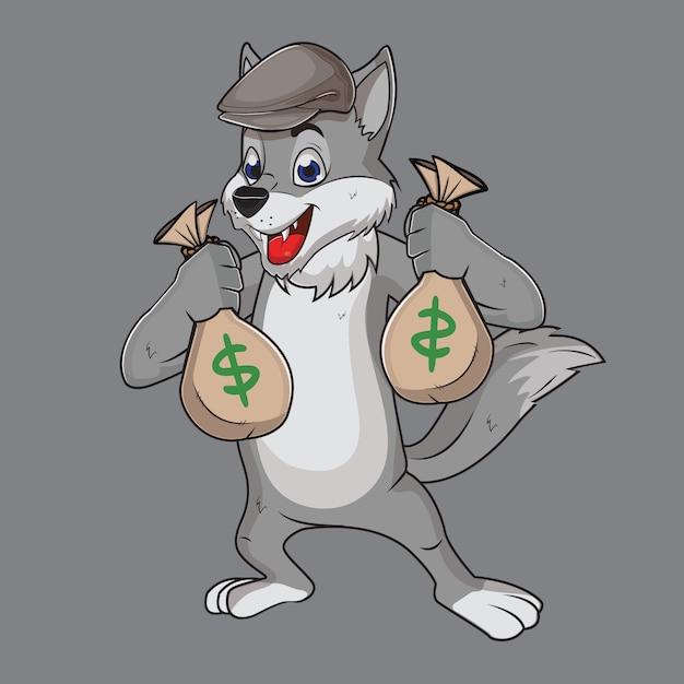 Cinza de lobo cinzas o ladrão engraçado Vetor Premium