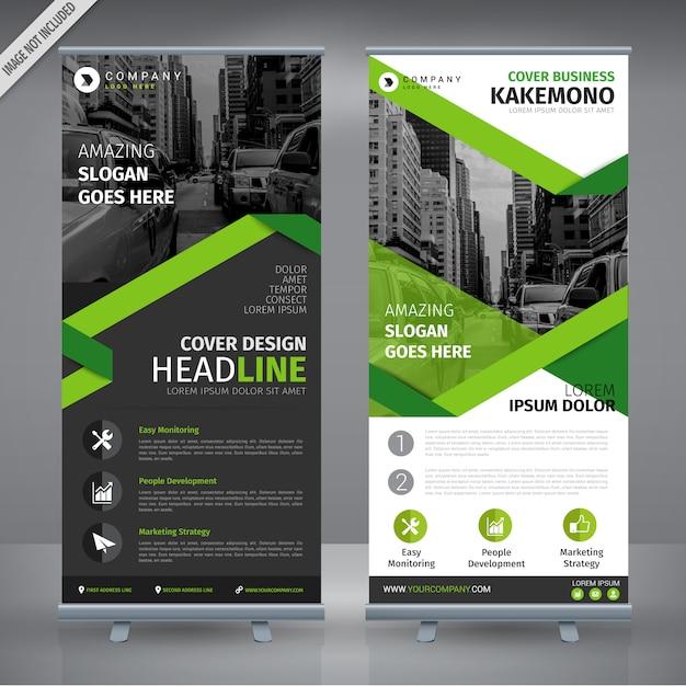 Cinza e design verde roll-up duplo Vetor grátis