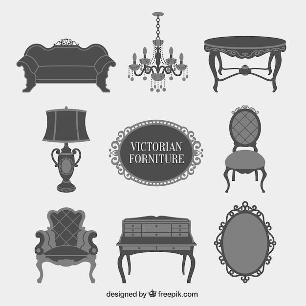 Cinza victorian furniture icons set Vetor grátis