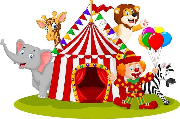 Circo de animais feliz dos desenhos animados e palhaço Vetor Premium