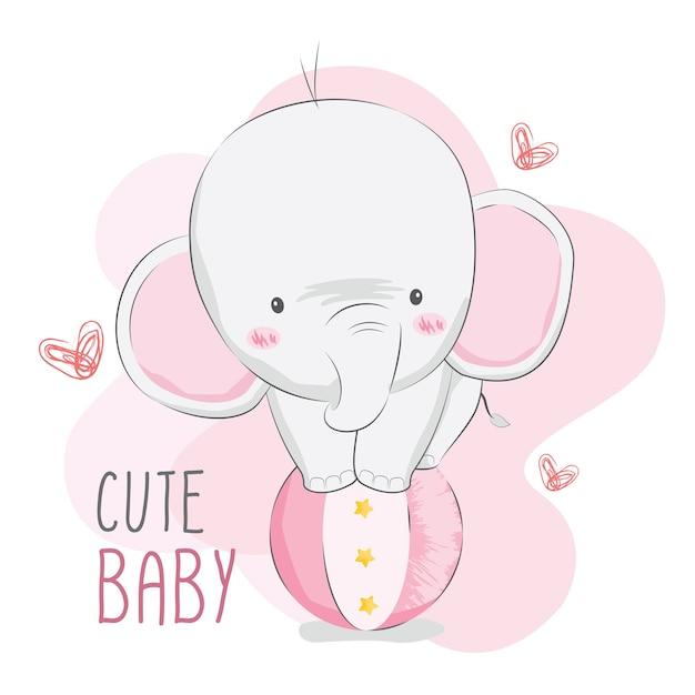 Circo de elefante bebê fofo Vetor Premium