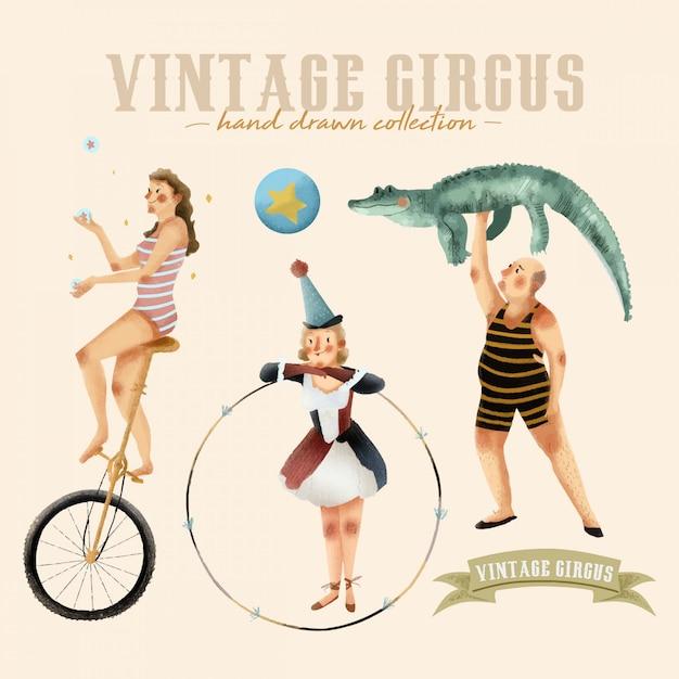Circo vintage - coleção desenhada mão Vetor Premium