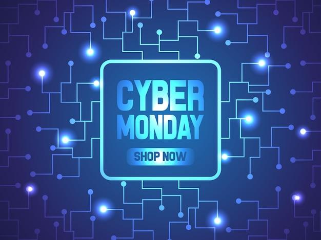 Circuito abstrato de cyber segunda-feira Vetor Premium