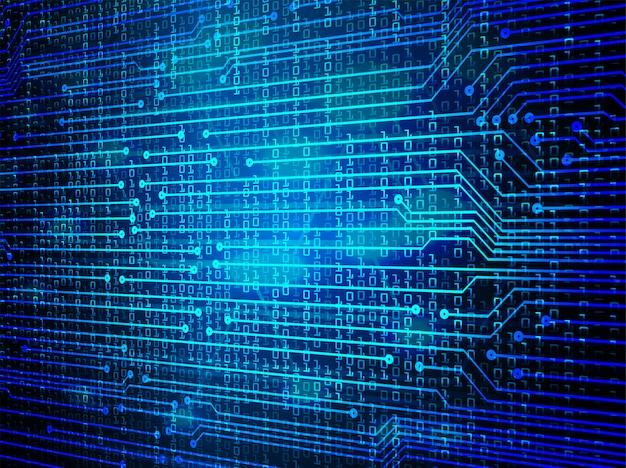 Circuito azul cyber futuro fundo de conceito de tecnologia Vetor Premium
