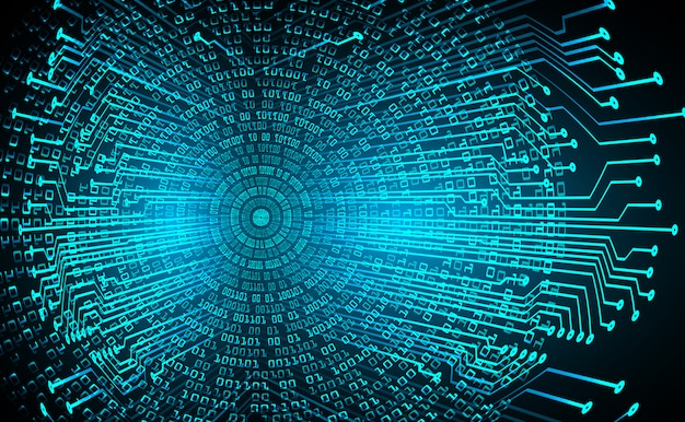 Circuito cyber de olho azul tecnologia futura conceito fundo Vetor Premium
