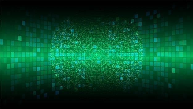 Circuito cyber verde futuro conceito de tecnologia fundo Vetor Premium