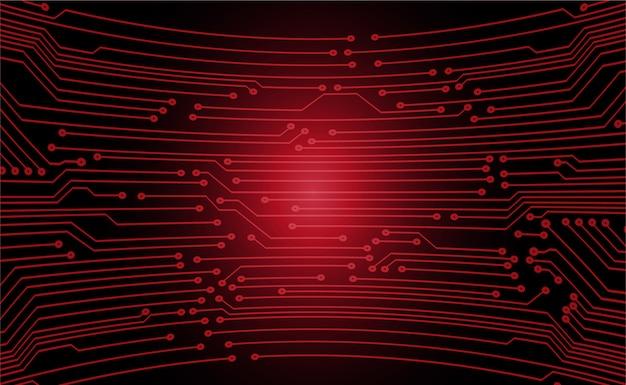 Circuito cyber vermelho futuro tecnologia conceito fundo Vetor Premium