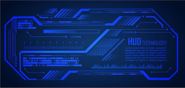 Circuito de cyber azul hud tecnologia futura conceito fundo Vetor Premium