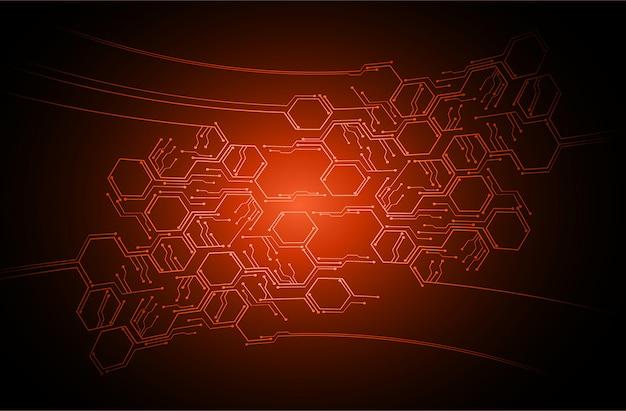 Circuito de cyber laranja tecnologia do futuro conceito fundo Vetor Premium